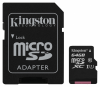 Карта памяти Kingston microSDXC 64Gb Class 10 UHSI + adapter (SDC10G2/64Gb)