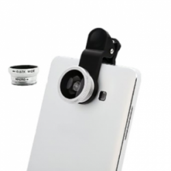 Phone Camera Lens Clip Kit 3 in 1 Silver