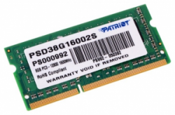 Память SoDimm Patriot Original Signature 1x8Gb DDR3 1600Mhz (PSD38G16002S)